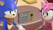 Sonic and Amy listening to the radio