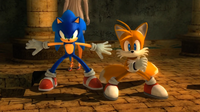 Sonic and Tails stand together Sonic 2006