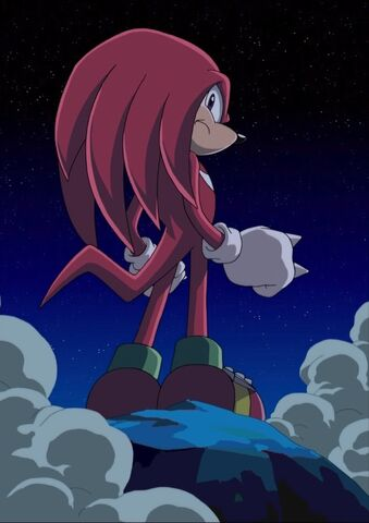 File:Knuckles after saving Tails and Amy in episode 1.jpg