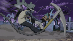 Black Star using the Art of Assasionation to kick Sid