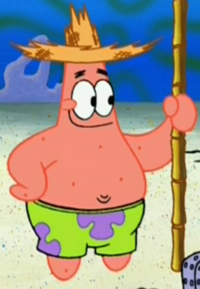 Patrick Wearing a Straw Hat