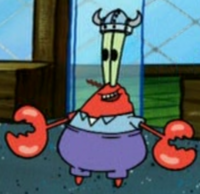 Mr. Krabs Wearing a Viking Helmet