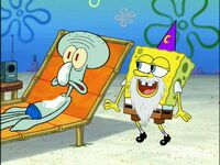 Squidward & Spongebob (Wearing 1 Wizard Beard & 1 Wizard Hat)