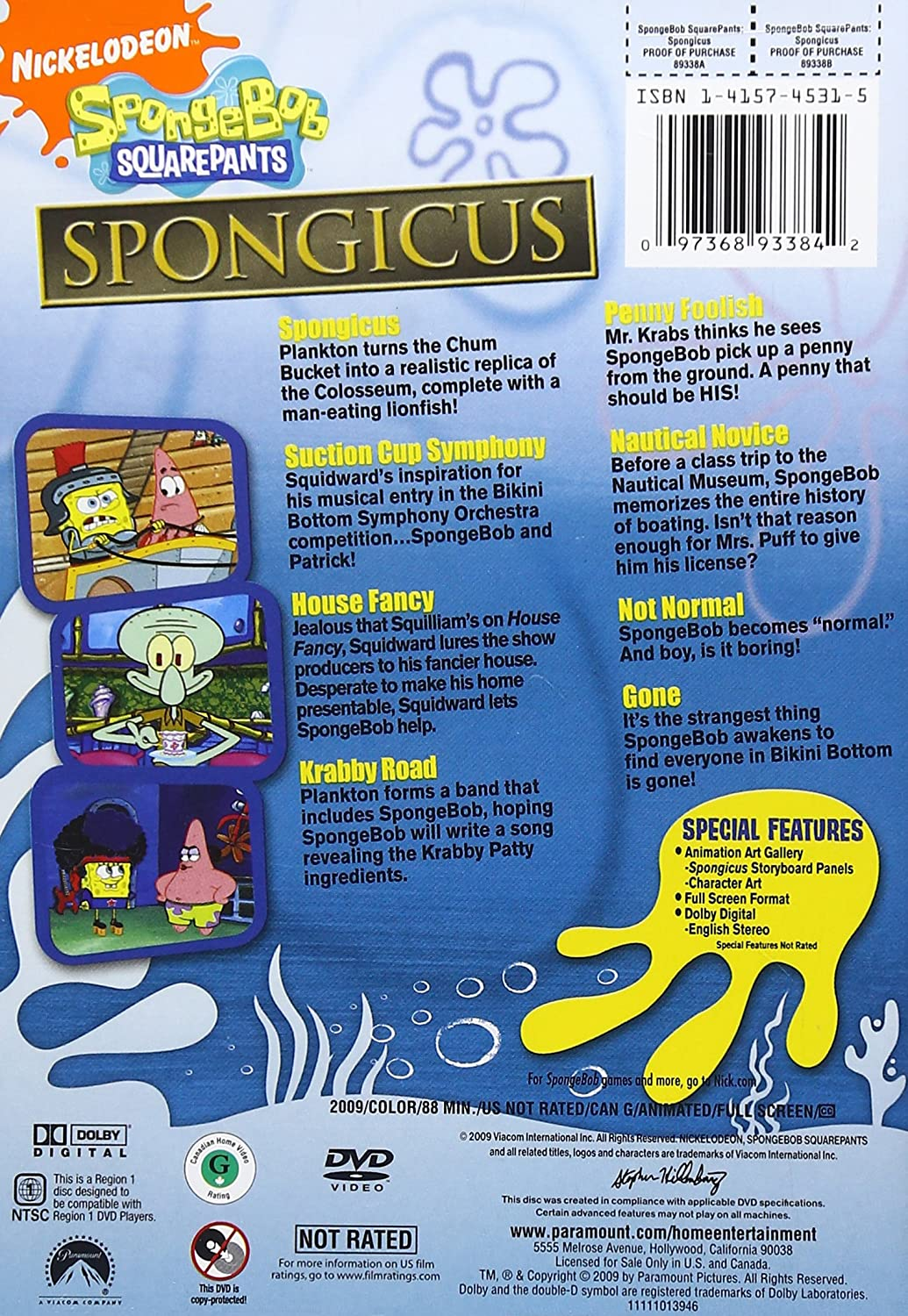 Spongicus DVD Back Cover