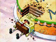 SpongeBob falls on cake