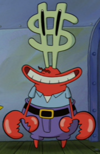 Mr. Krabs with Dollar Sign Eyes in The SpongeBob Movie - Sponge Out of Water