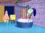 Squidward's bath scare