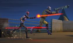 Wren and Zeb fight Azmorigan