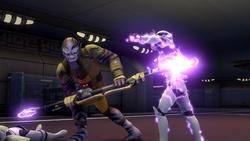 Zeb fights stormtroopers on Garel