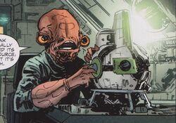 Sauk repairing Imperial comm droid