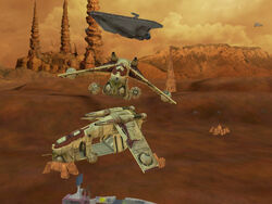 Two Republic gunships in Star Wars Battlefront
