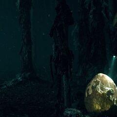 Hopper observing an egg in the Upside Down.