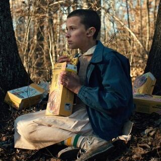Eleven hears Mike and Dustin calling for her while eating Eggos.