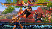 Hwoarang attacking Sagat Street Fighter X Tekken