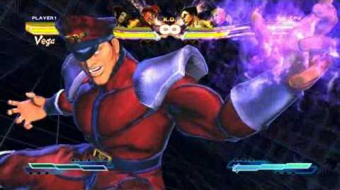 M. Bison performing his Super Art and Cross Art in Street Fighter X Tekken