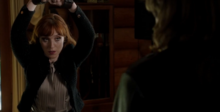 Rowena tied up in the cabin (12x03)
