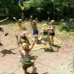The women celebrate winning the first challenge.