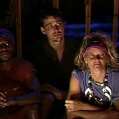Kathy at the first merged Tribal Council.