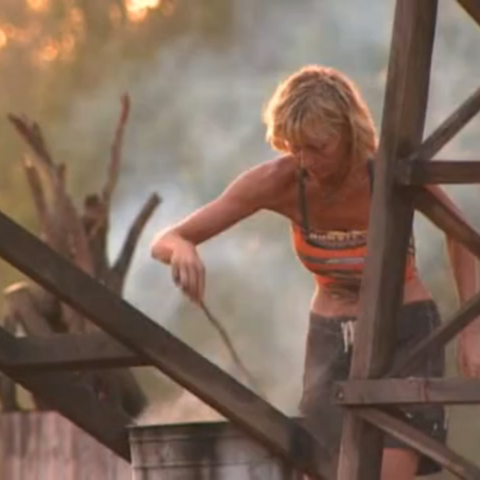 Tina building her fire.