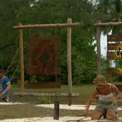 Former partners, Mikael and Sylvia, compete in the first duel