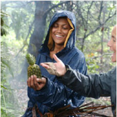Joanna finds a pineapple on the Jaburu camp.