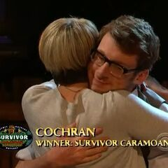 Cochran after being declared the Sole Survivor. He is the second person to play a perfect game.