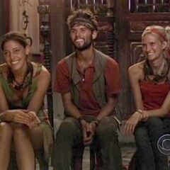 Amanda, Courtney, and Todd at Final Tribal Council.