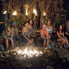 Salani at their first Tribal Council before being informed of Kourtney's evacuation.