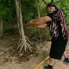 Billy tries to break a stick of bamboo.