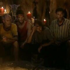 The La Mina men at Tribal Council.