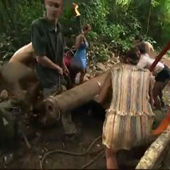 Morgan at the first Immunity Challenge trailing behind the Morgan tribe as they reassembled their cannon.