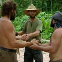 Russell shakes on a final three pact with Rupert and Colby.