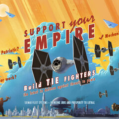Propaganda on Lothal, featuring TIE fighters and Star Destroyers.