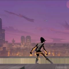 Ezra overlooks a city