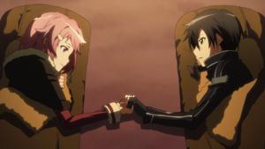 Lisbeth and Kirito holding hands