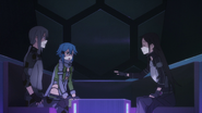 Kirito teasing Sinon in the waiting room