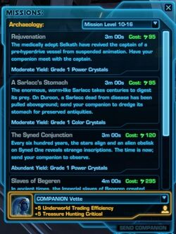 SWTOR Archaeology missions