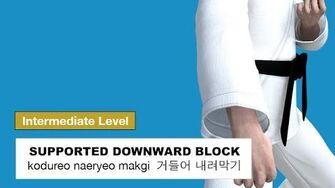Taekwondo 2D - Supported Downward Block ( 거들어 내려막기 kodureo naeryeo makgi )