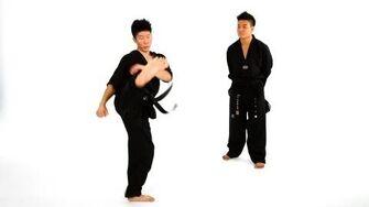 Hop Step Double Roundhouse Kick Taekwondo Training