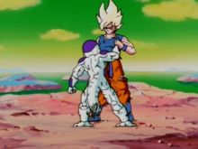 Goku stops Freeza from shooting Gohan