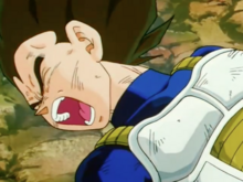 Vegeta gets his arm broken by 18