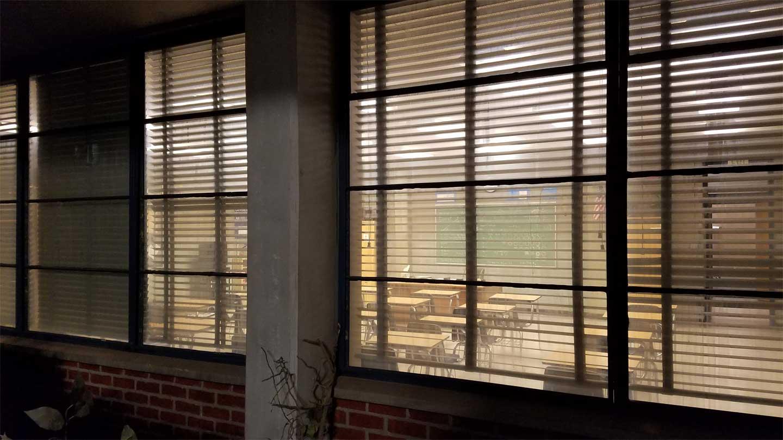 Image beacon hills high school exterior classroom teen for Exterior no chain window shade