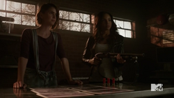 Teen Wolf Season 5 Episode 14 The Sword and the Spirit Braeden and Malia at the clinic.png