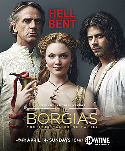 001 Season three promo photo of Rodrigo Borgia, Lucrezia Borgia and Cesare Borgia 250px