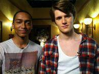 Eugne and Alex (boy Alex) on set