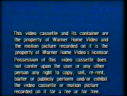 Warner Home Video UK Rental Warning (1980's) (S1)