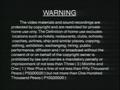 Universal Records Warning Screen 1