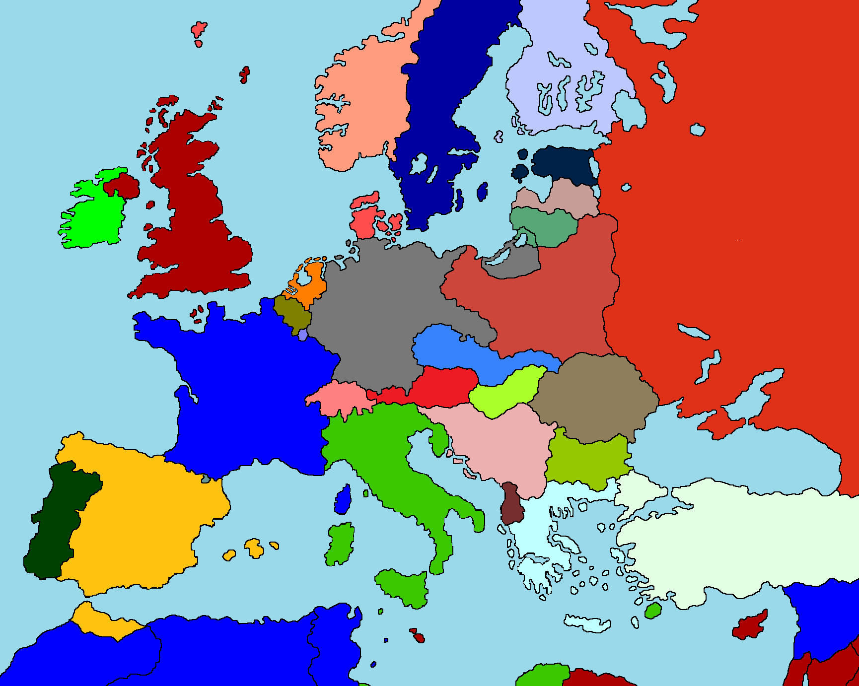 Image Drawn Colored Blank Map Of Europe Png - Blank us state map 1000 pixels width