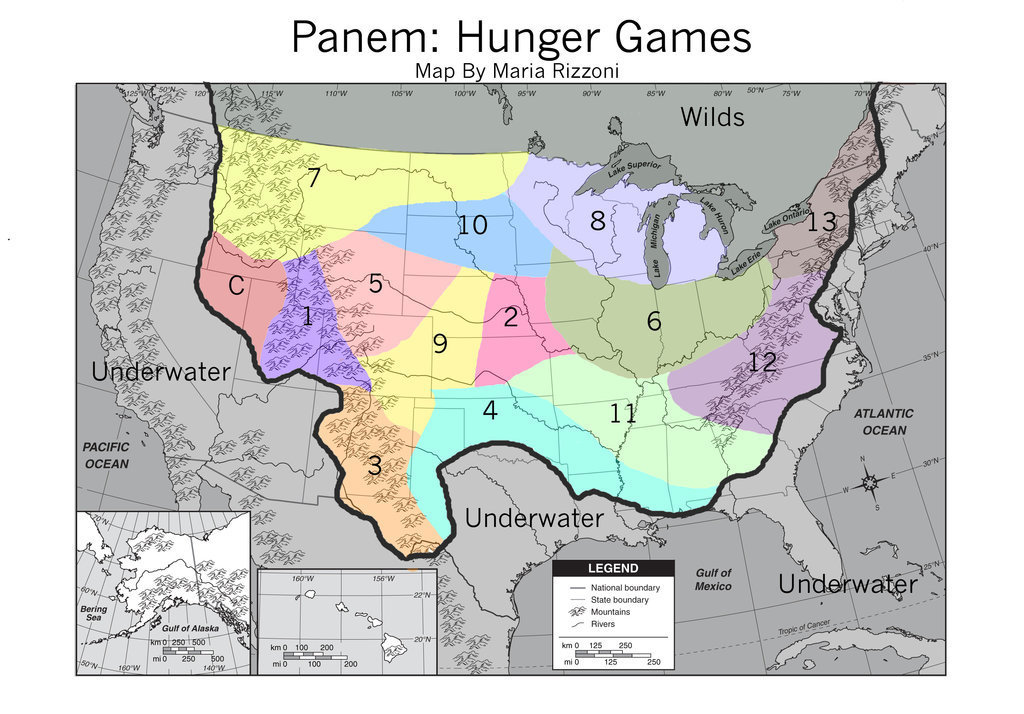 Hunger Games Lessons My Updated Map Of Panem The Hunger Games - Hunger games mapped on us
