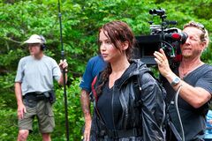 Jennifer Lawrence on Hunger Games set.jpg